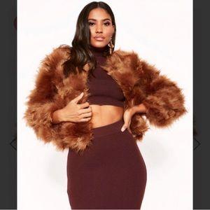 Camel faux fur cropped jacket